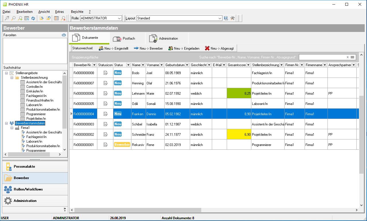 iquadrat Screenshot Datengitter Bewerberstammdaten