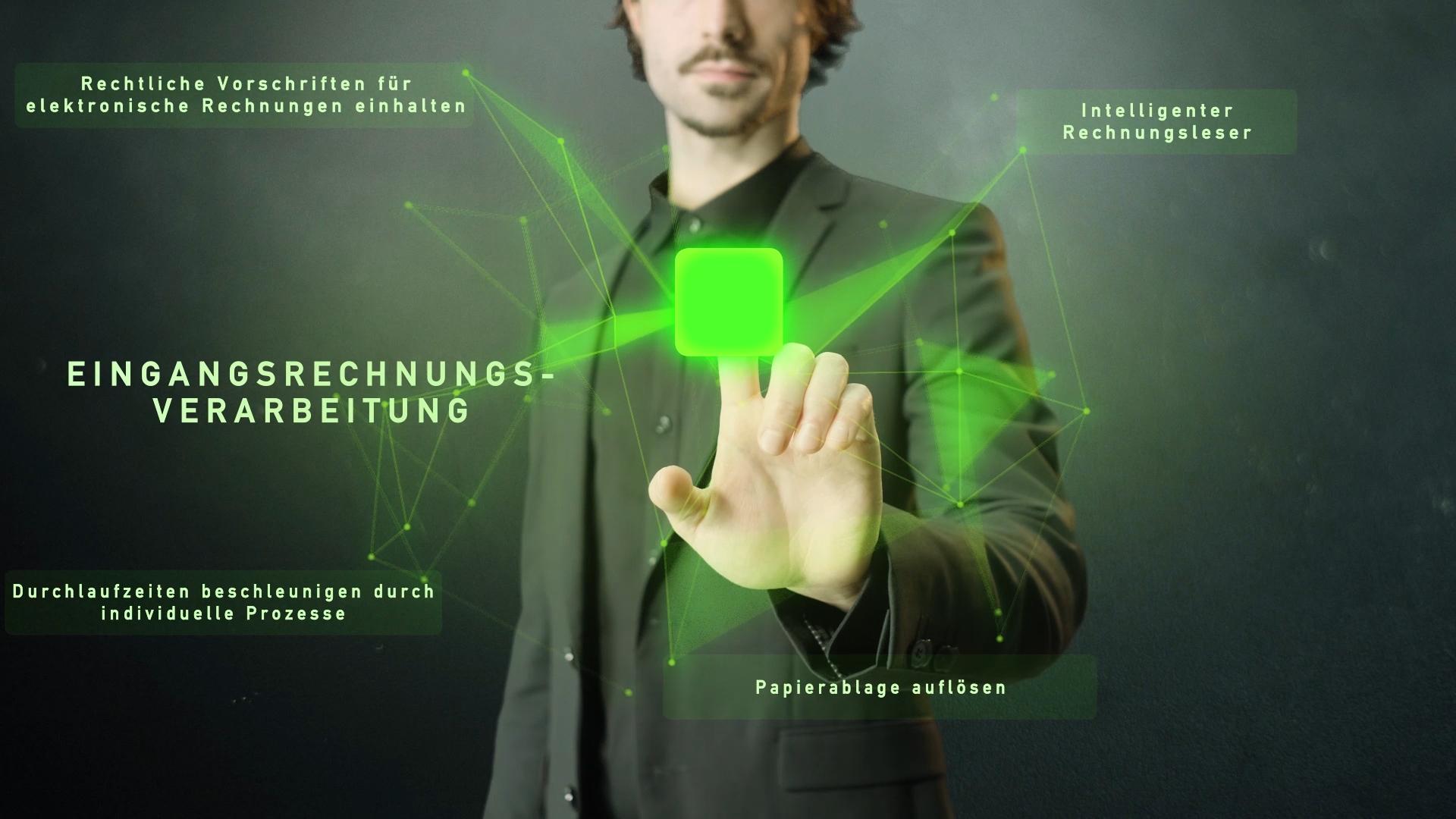 grünes Netzwerk mit Wort Eingangsrechnungsverarbeitung und Mann im Hintergrund