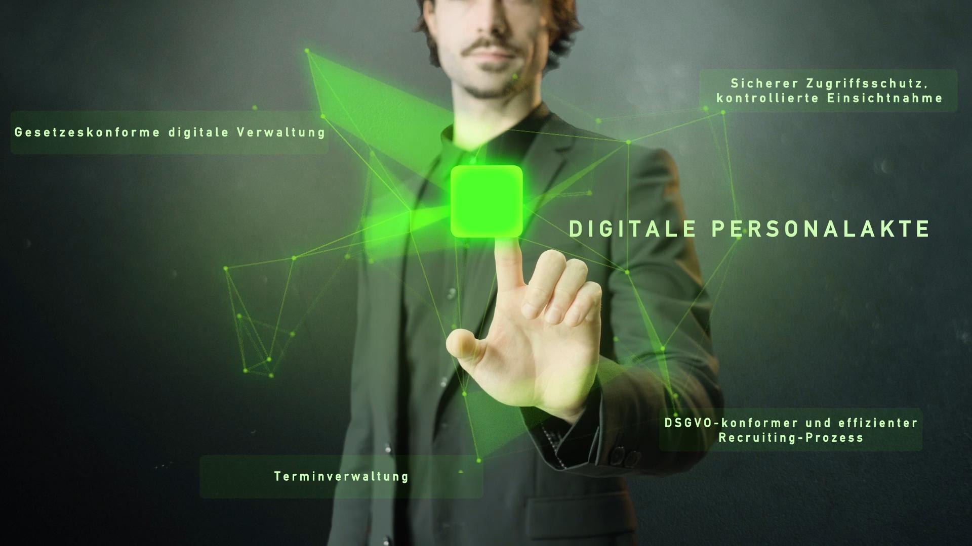 grünes Netzwerk mit Wort digitale Personalakte und Mann im Hintergrund