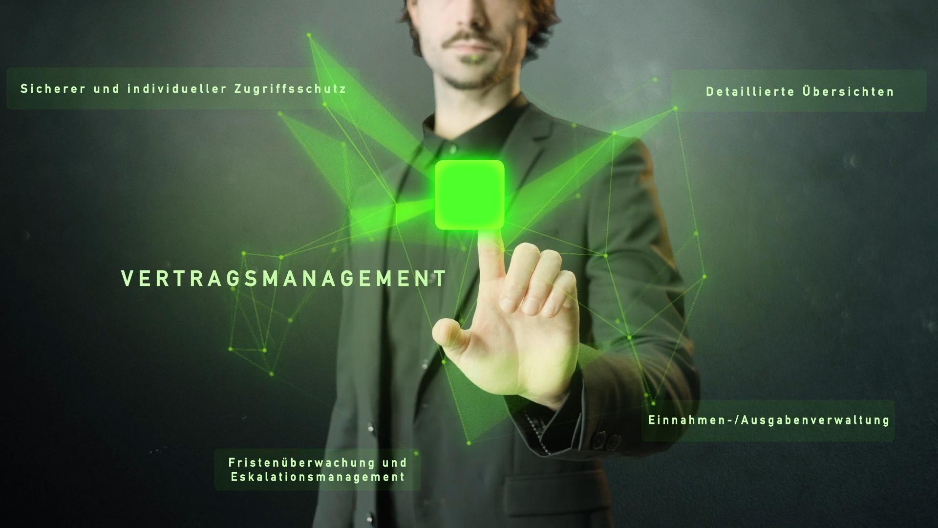 grünes Netzwerk mit Wort Vertragsmanagement und Mann im Hintergrund