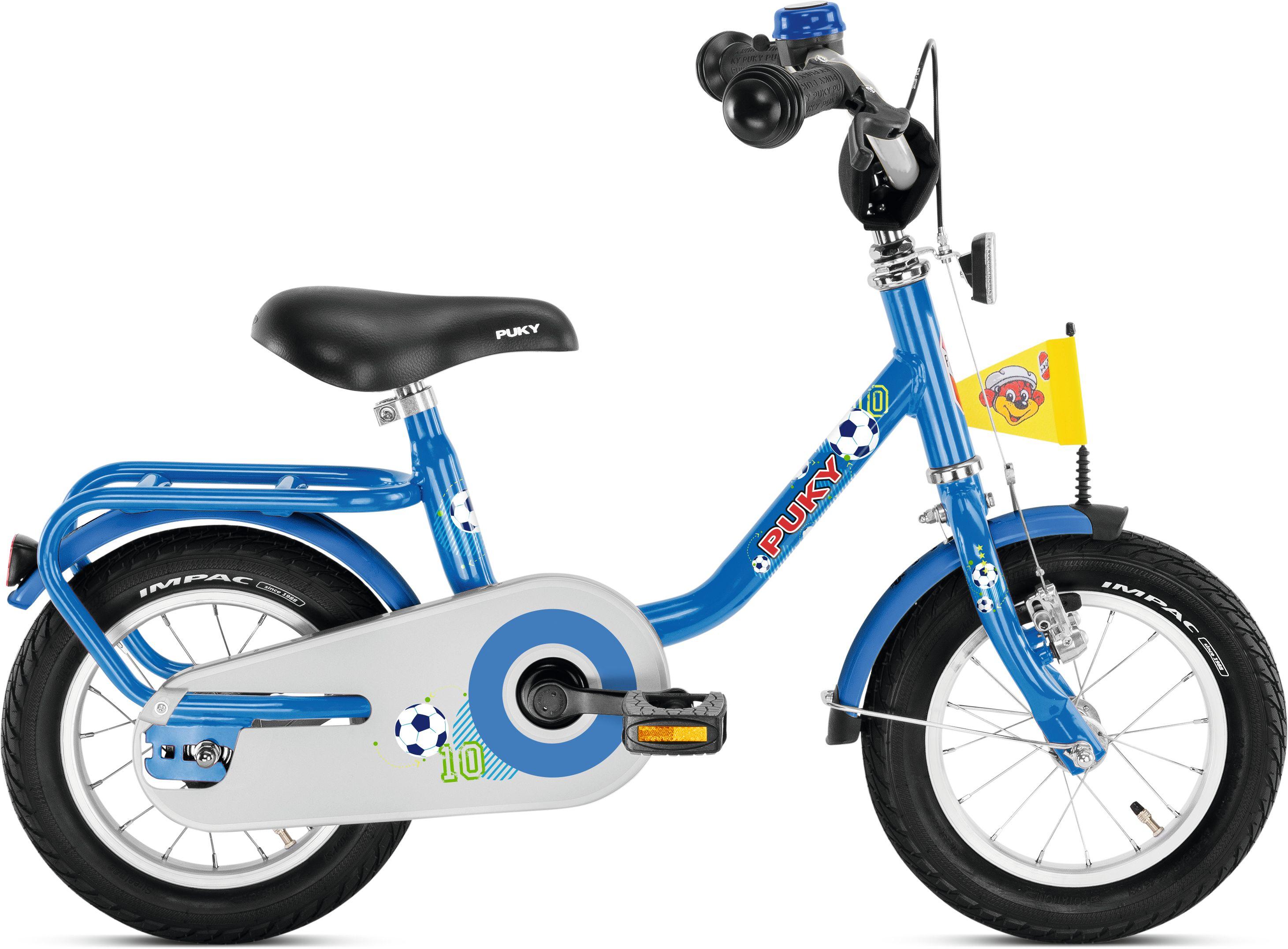 blaues Puky Fahrrad mit Fußball Design