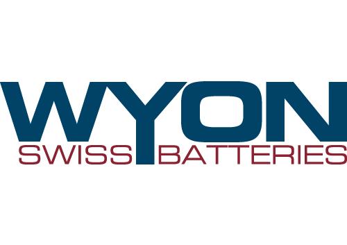 blau rotes Logo von Wyon Swiss Batteries